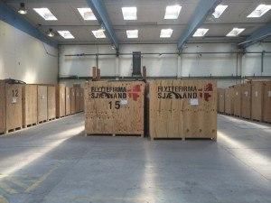 Her ses tydeligt hele vores container opbevaring, alle containere står i opvarmede lager rum.