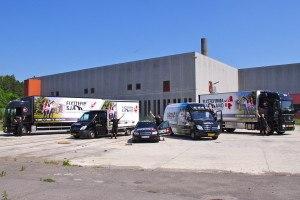 5 Flyttebiler med deres Chauffør