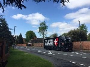 Her ses Flyttebil i England, under flytning.