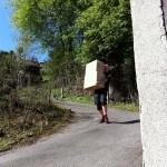 Flyttemand igang med at bære Flyttekasser ned af en stegl bakke.